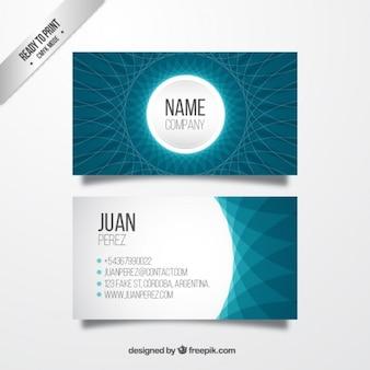 Cartão de visita abstrato em cores azuis