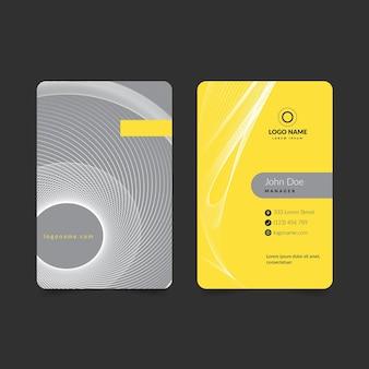 Cartão de visita abstrato vertical amarelo e cinza