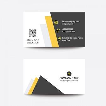 Cartão de visita amarelo preto moderno da cor