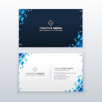 Cartão de visita azul criativo com elementos de mosaico