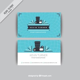 Cartão de visita azul da câmera