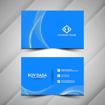 Cartão de visita azul de meio-tom em estilo onda