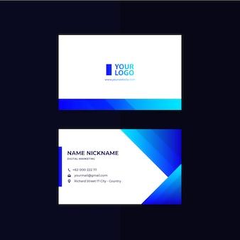 Cartão de visita azul degradê