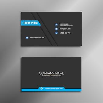 Cartão de visita azul e preto elegante
