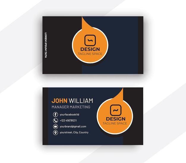 Cartão de visita azul escuro e laranja com círculos brancos