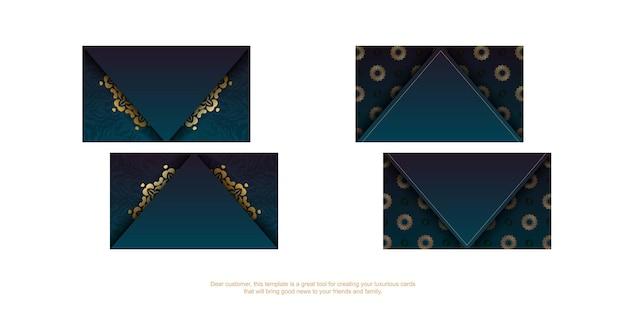 Cartão de visita azul gradiente com ornamentos de ouro indiano para a sua personalidade.