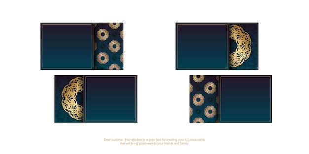 Cartão de visita azul gradiente com ornamentos de ouro luxuosos para o seu negócio.