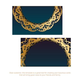 Cartão de visita azul gradiente com padrão ouro vintage para a sua personalidade.