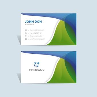 Cartão de visita azul & verde