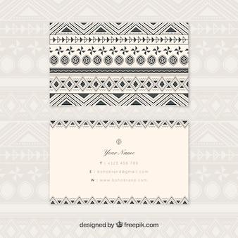 Cartão de visita boho com formas geométricas