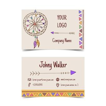 Cartão de visita boho desenhado à mão
