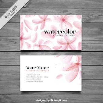 Cartão de visita bonito com flores da aguarela