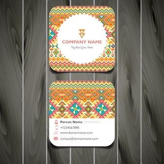 Cartão de visita bordado quadrado