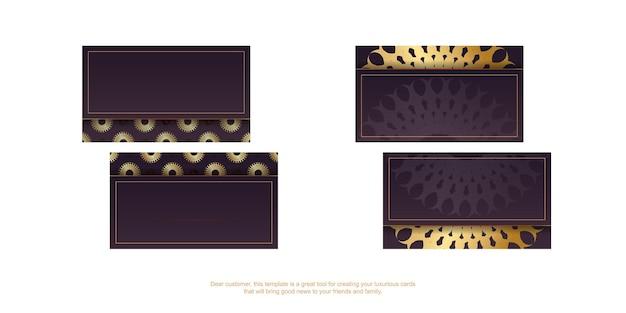 Cartão de visita borgonha com padrão de mandala ouro para seus contatos.