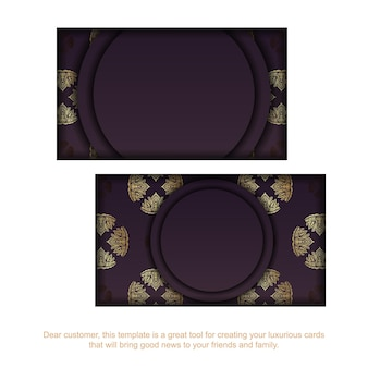 Cartão de visita borgonha com padrão de ouro antigo para seus contatos.