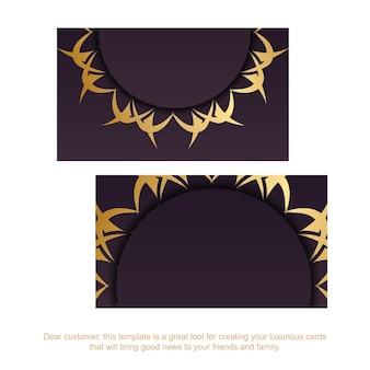 Cartão de visita borgonha com padrão de ouro indiano para a sua personalidade.