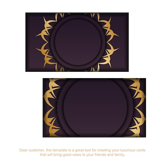 Cartão de visita borgonha com padrão ouro indiano para a sua marca.