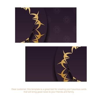 Cartão de visita borgonha com padrão ouro indiano para o seu negócio.
