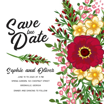 Cartão de visita branco com design floral