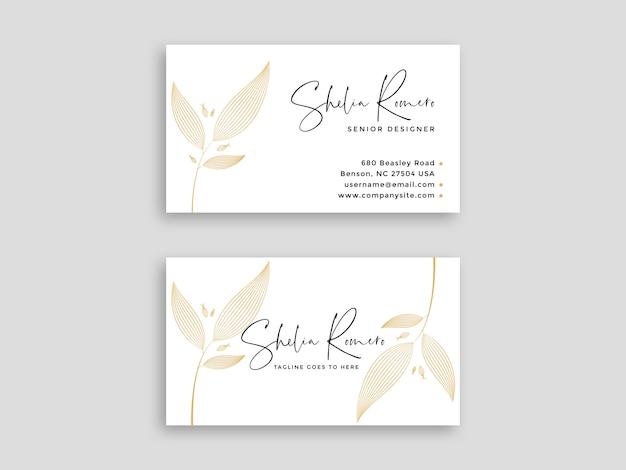 Cartão de visita branco de luxo com padrão floral
