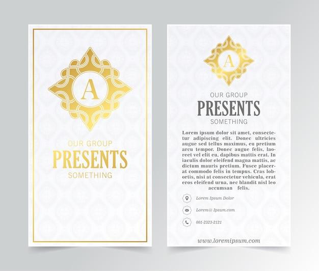 Cartão de visita branco de luxo e logotipo vintage ornamentado