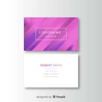 Cartão de visita branco e roxo abstrato do gradiente