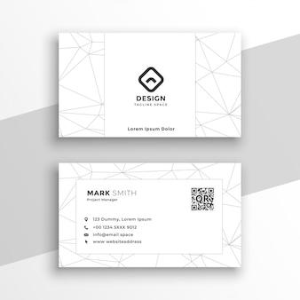 Cartão de visita branco geométrico de baixo estilo poli