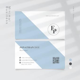 Cartão de visita branco mínimo azul macio