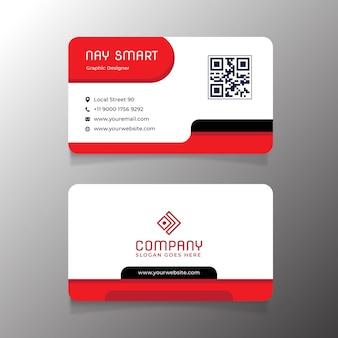 Cartão de visita branco vermelho luxuoso com código qr