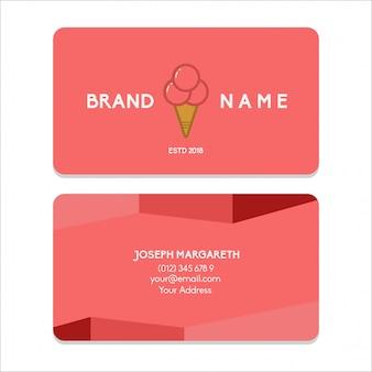 Cartão de visita bussiness sorvete vermelho liso cor