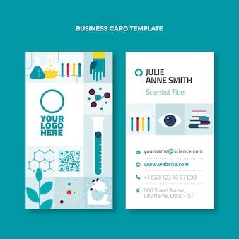 Cartão de visita científico de design plano vertical