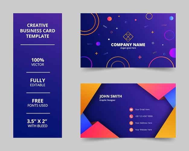 Cartão de visita colorido abstrato moderno