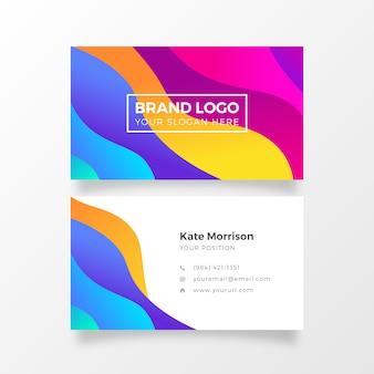 Cartão de visita colorido brilhante do inclinação com formas fluidas