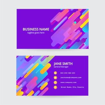 Cartão de visita colorido de memphis, design moderno