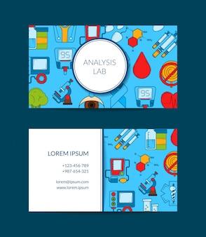 Cartão de visita colorido dos ícones do diabetes