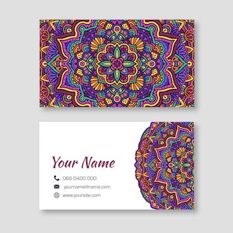 Cartão de visita colorido mandala