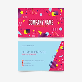 Cartão de visita colorido memphis design