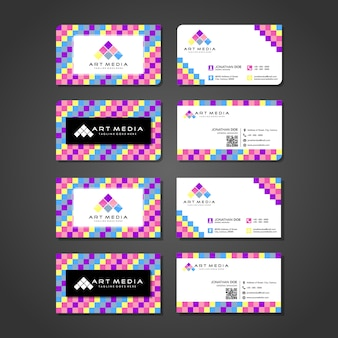 Cartão de visita colorido moderno e logotipo modelo apresentação design