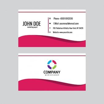 Cartão de visita com a onda rosa