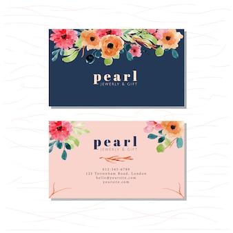 Cartão de visita com aquarela floral elegante