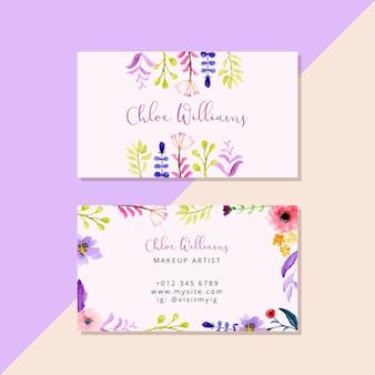 Cartão de visita com aquarela floral