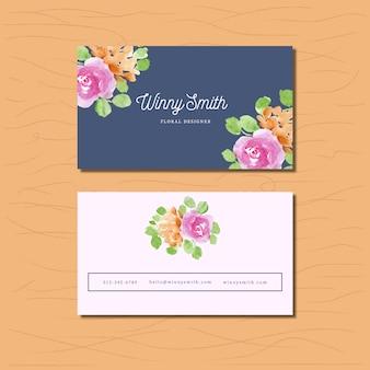 Cartão de visita com arranjo floral de aguarela