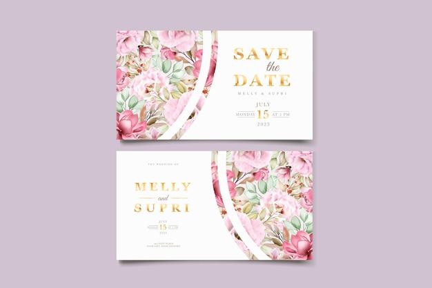 Cartão de visita com bela aquarela floral