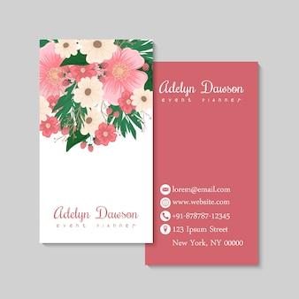 Cartão de visita com belas flores e berriyes. modelo