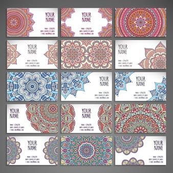 Cartão de visita com coleção mandalas