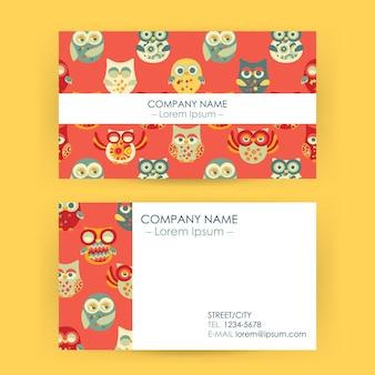 Cartão de visita com corujas. ilustração vetorial de identidade corporativa