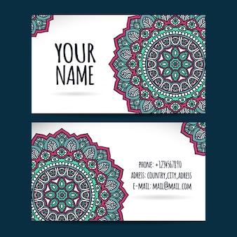 Cartão de visita com design da mandala