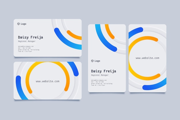 Cartão de visita com detalhes em azul e amarelo neumorph