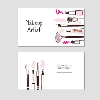 Cartão de visita com elementos cosméticos de maquiagem e beleza
