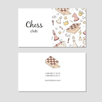 Cartão de visita com elementos de xadrez de desenho animado